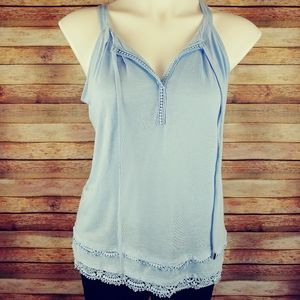 WHBM light blue tank with lace small